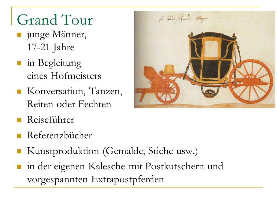 Grand Tour junge Männer, 17-21 Jahre in Begleitung eines Hofmeisters