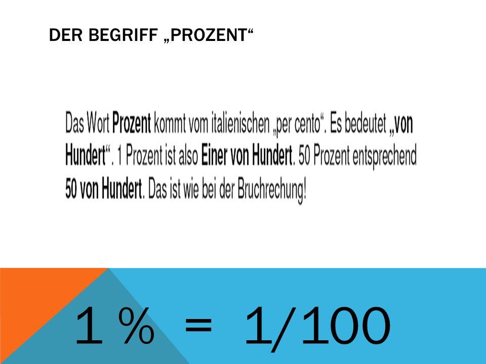 """Der Begriff """"Prozent 1 % = 1/100"""