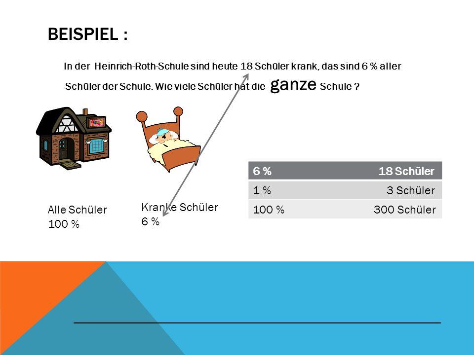 Beispiel : 6 % 18 Schüler 1 % 3 Schüler 100 % 300 Schüler
