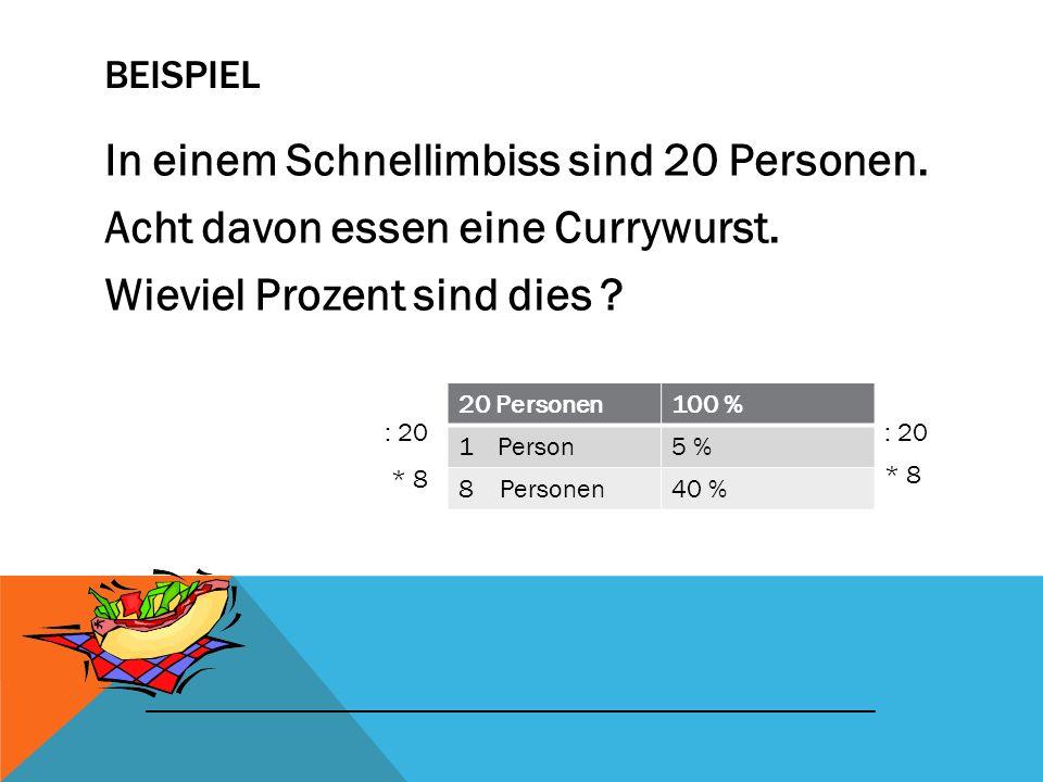 Beispiel In einem Schnellimbiss sind 20 Personen. Acht davon essen eine Currywurst. Wieviel Prozent sind dies