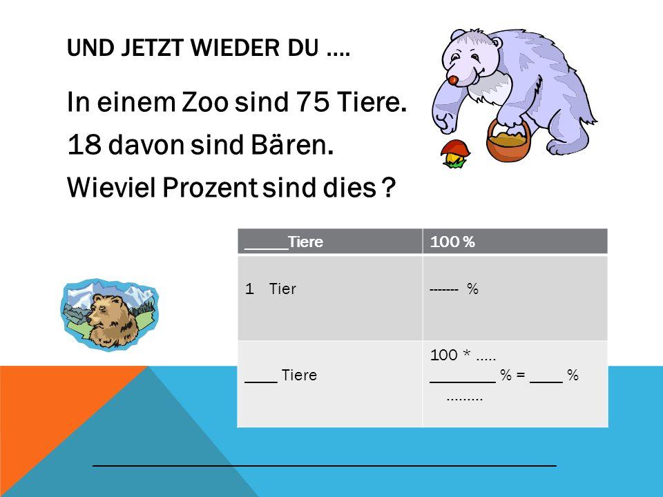 Und jetzt wieder du …. In einem Zoo sind 75 Tiere. 18 davon sind Bären. Wieviel Prozent sind dies