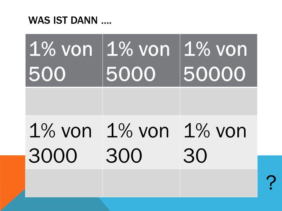 1% von 500 1% von 5000 1% von 50000 1% von 3000 1% von 300 1% von 30