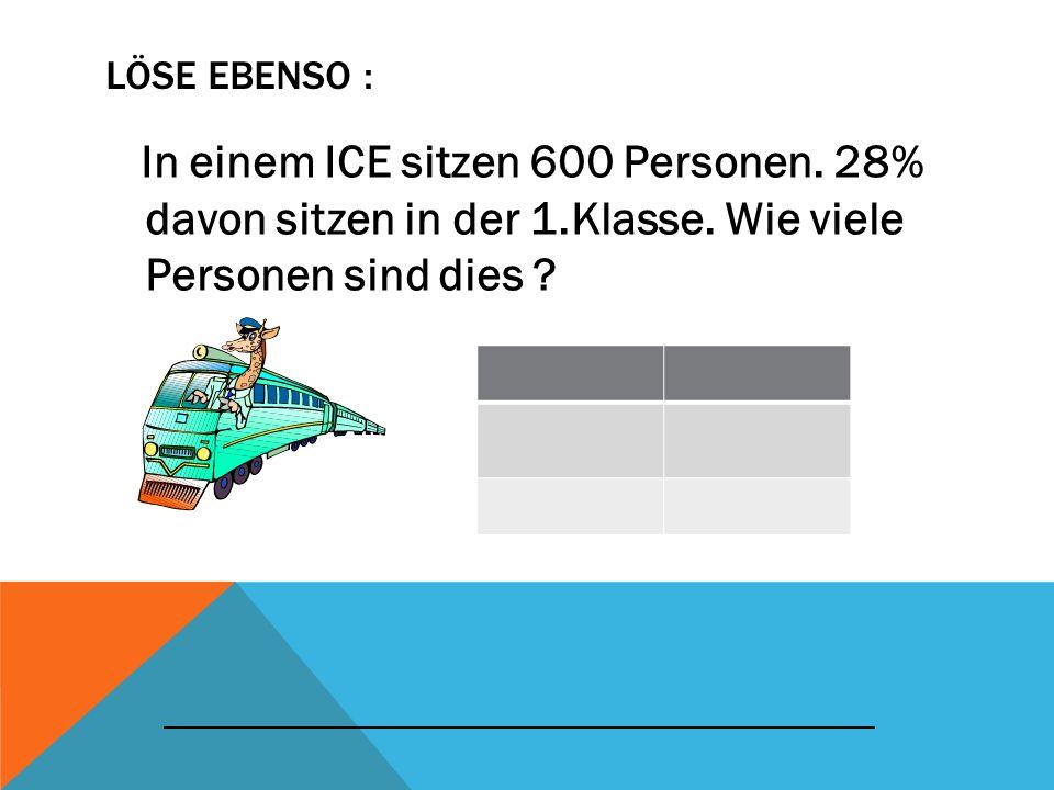 Löse ebenso : In einem ICE sitzen 600 Personen. 28% davon sitzen in der 1.Klasse. Wie viele Personen sind dies
