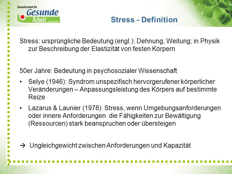 Stress - DefinitionStress: ursprüngliche Bedeutung (engl.): Dehnung, Weitung; in Physik zur Beschreibung der Elastizität von festen Körpern.
