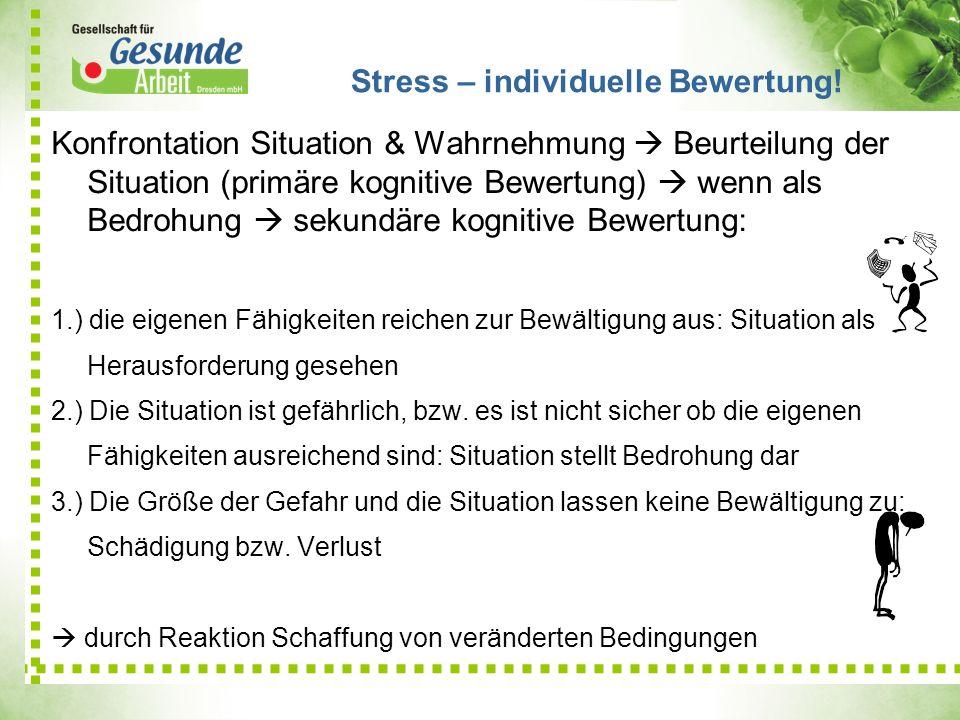 Stress – individuelle Bewertung!