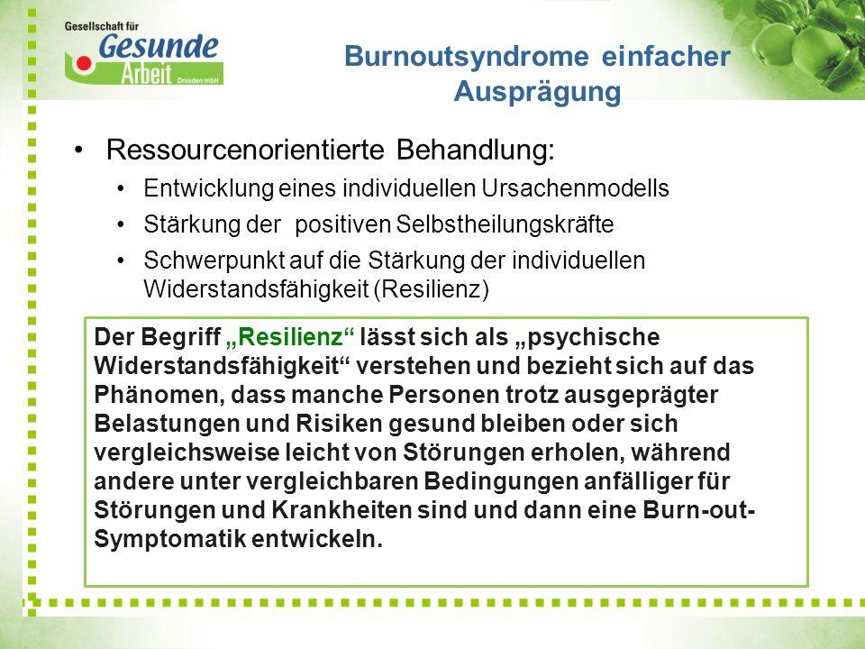 Burnoutsyndrome einfacher Ausprägung