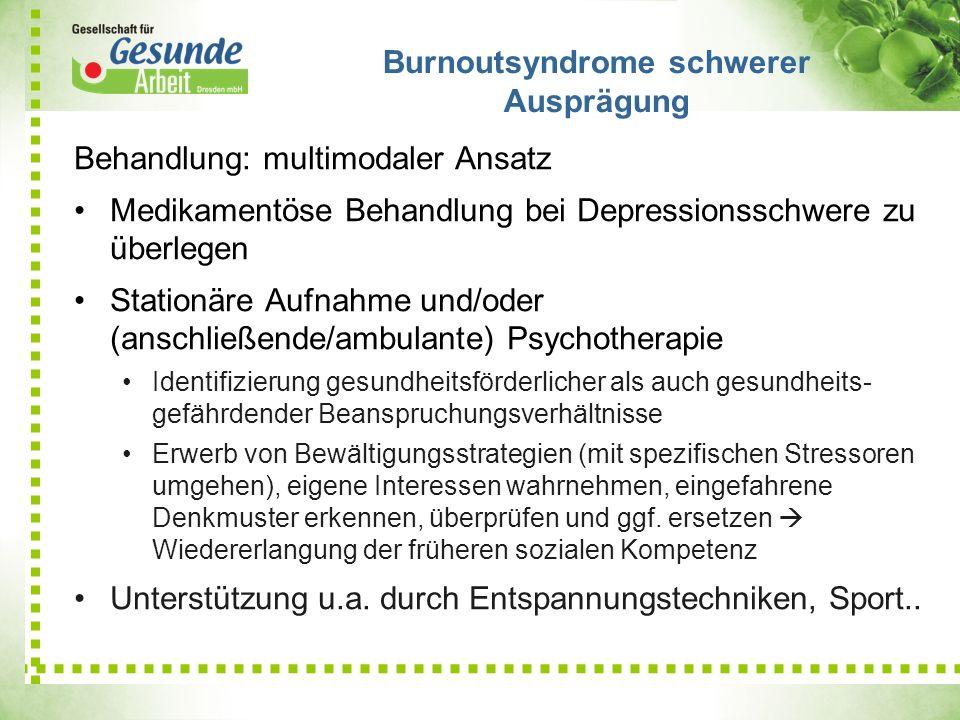 Burnoutsyndrome schwerer Ausprägung