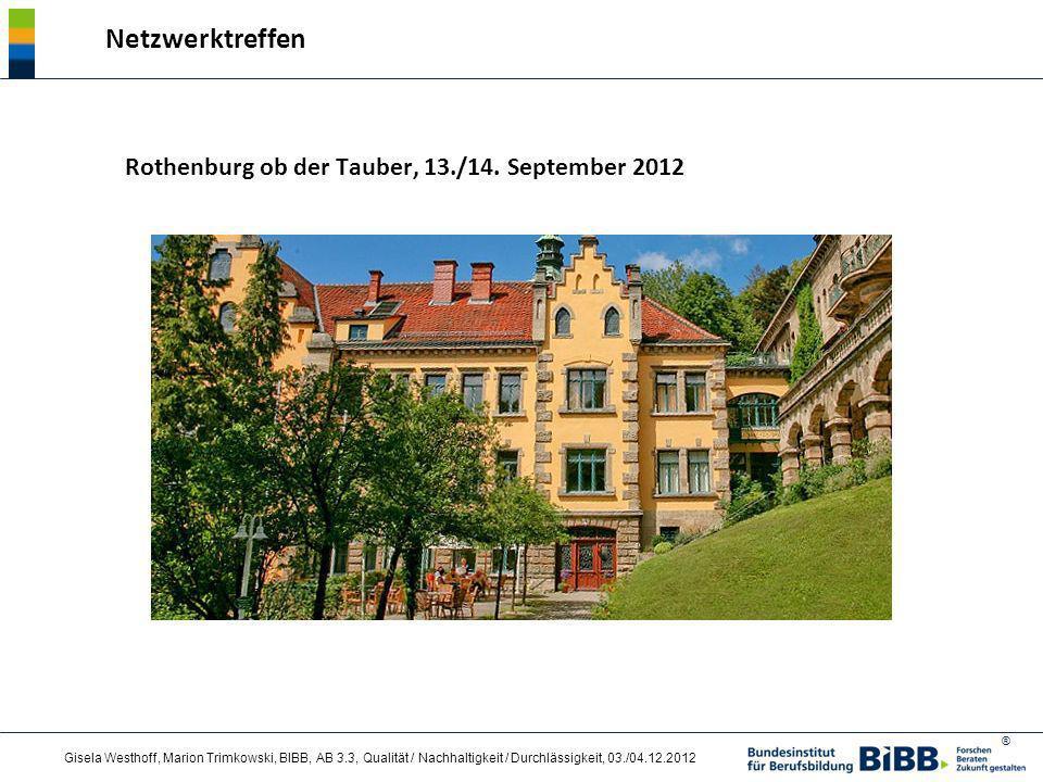 Netzwerktreffen Rothenburg ob der Tauber, 13./14. September 2012