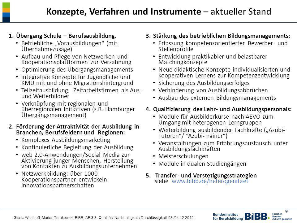 Konzepte, Verfahren und Instrumente – aktueller Stand
