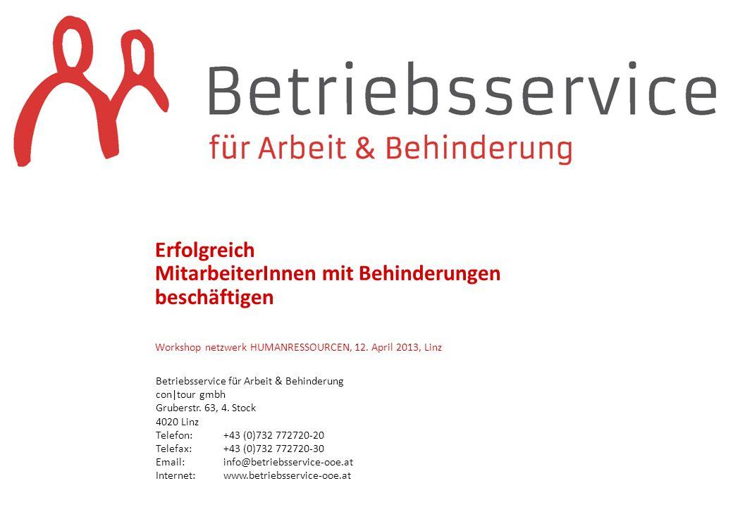 Erfolgreich MitarbeiterInnen mit Behinderungen beschäftigen Workshop netzwerk HUMANRESSOURCEN, 12. April 2013, Linz