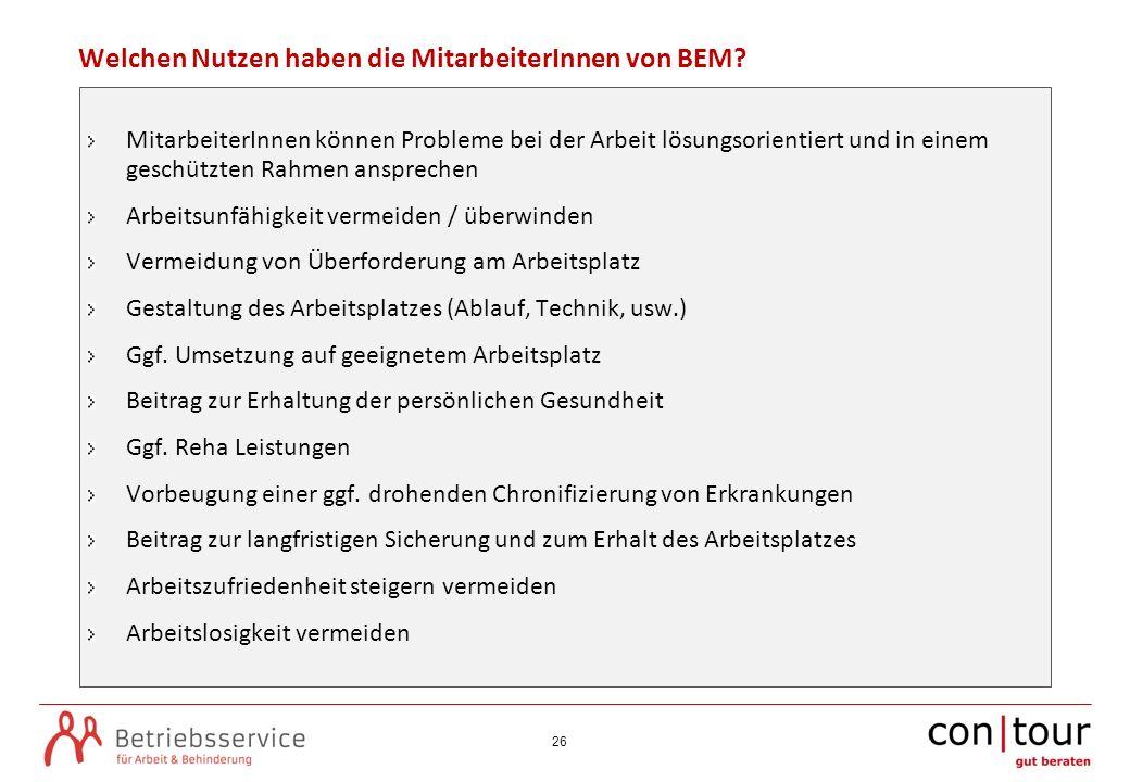 Welchen Nutzen haben die MitarbeiterInnen von BEM