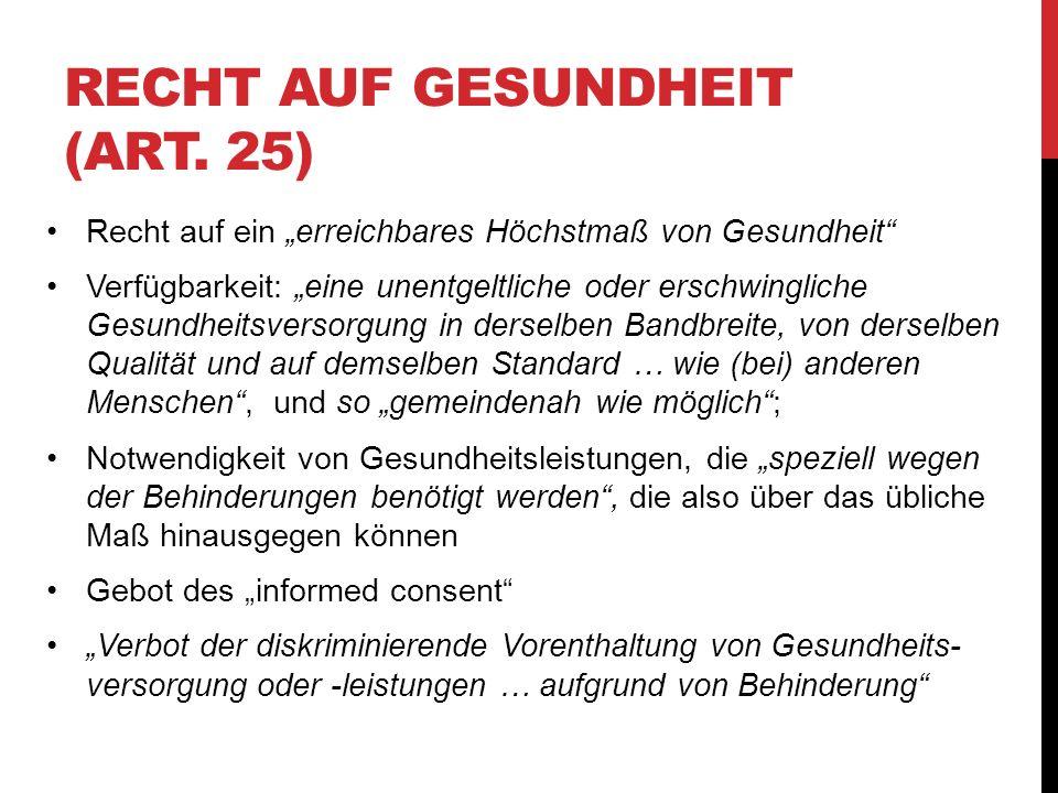Recht auf Gesundheit (Art. 25)