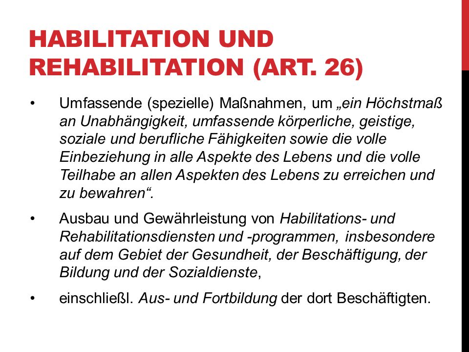 Habilitation und Rehabilitation (Art. 26)