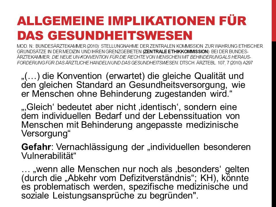 Allgemeine Implikationen für das Gesundheitswesen Mod. n