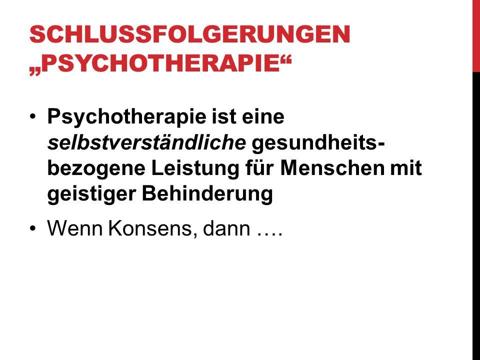"""Schlussfolgerungen """"Psychotherapie"""