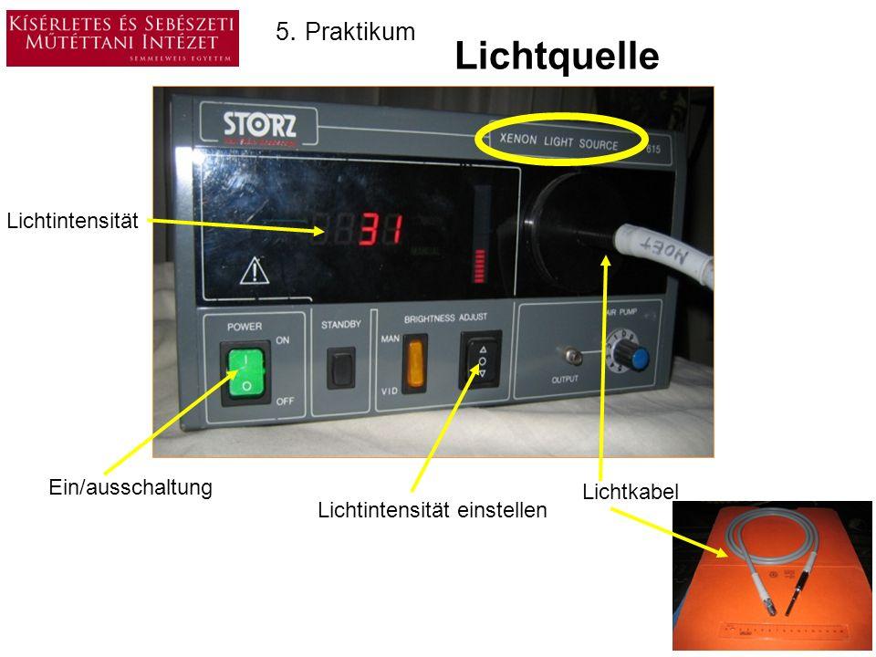 Lichtquelle 5. Praktikum Lichtintensität Ein/ausschaltung Lichtkabel