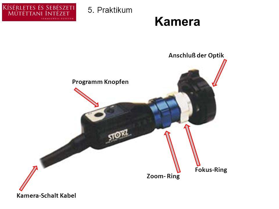 Kamera 5. Praktikum Anschluß der Optik Programm Knopfen Fokus-Ring