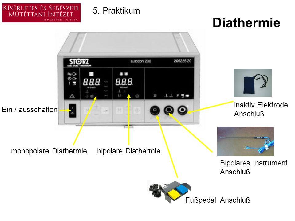 Diathermie 5. Praktikum monopolare Diathermie bipolare Diathermie