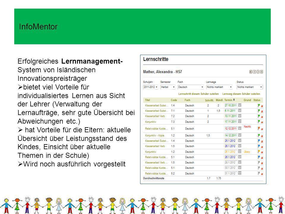 InfoMentor Erfolgreiches Lernmanagement-System von Isländischen Innovationspreisträger.
