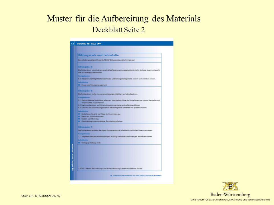 Muster für die Aufbereitung des Materials Deckblatt Seite 2