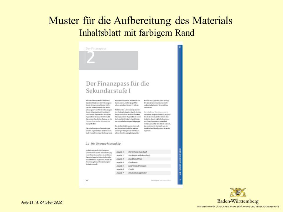 Muster für die Aufbereitung des Materials