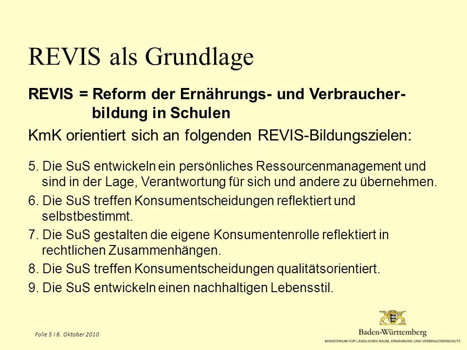 REVIS als Grundlage REVIS = Reform der Ernährungs- und Verbraucher- bildung in Schulen. KmK orientiert sich an folgenden REVIS-Bildungszielen: