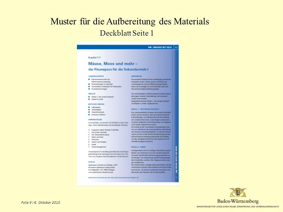Muster für die Aufbereitung des Materials Deckblatt Seite 1