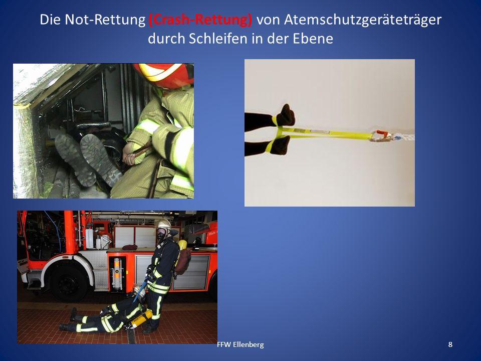 Die Not-Rettung (Crash-Rettung) von Atemschutzgeräteträger durch Schleifen in der Ebene