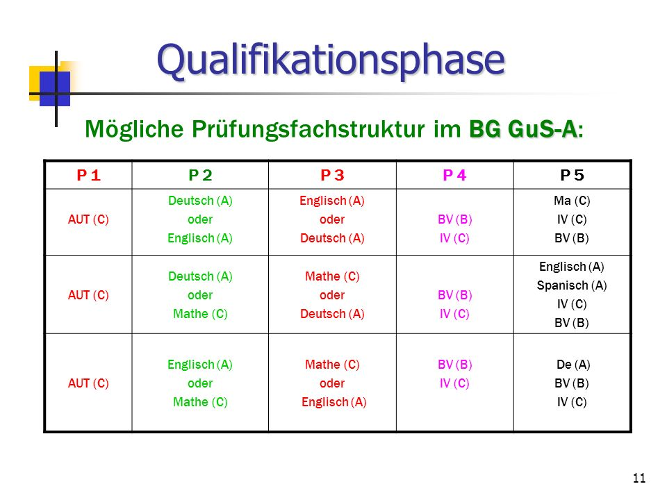 Mögliche Prüfungsfachstruktur im BG GuS-A: