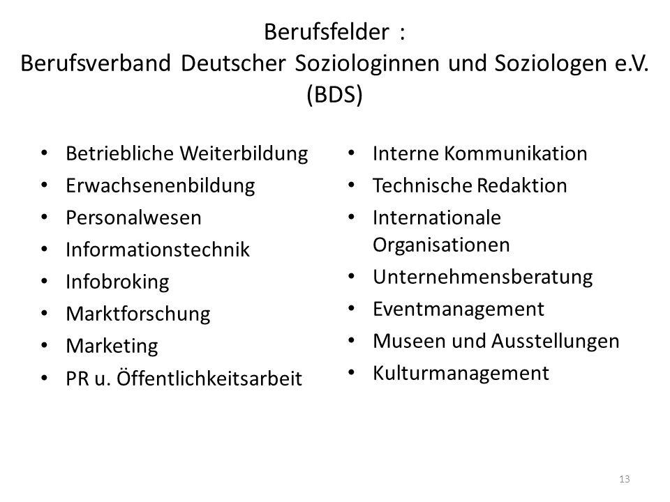 Berufsfelder : Berufsverband Deutscher Soziologinnen und Soziologen e