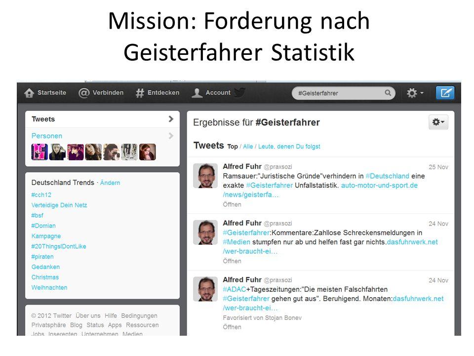 Mission: Forderung nach Geisterfahrer Statistik