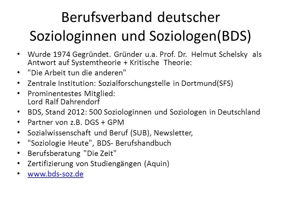 Berufsverband deutscher Soziologinnen und Soziologen(BDS)