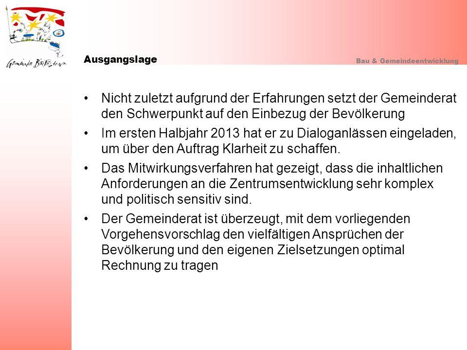 Ausgangslage Bau & Gemeindeentwicklung.
