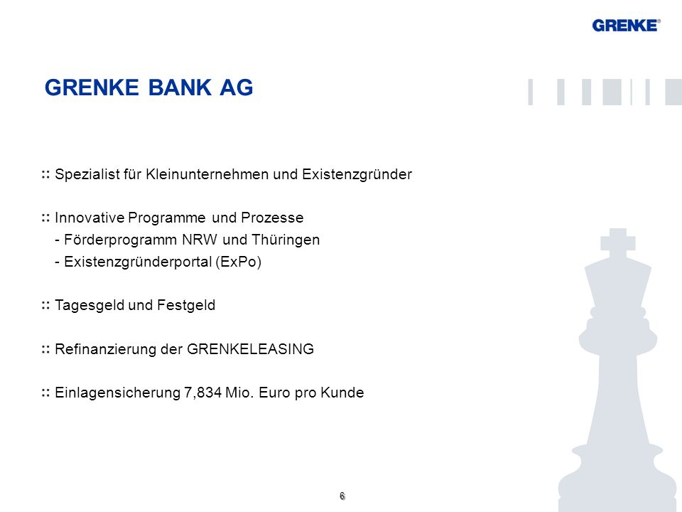GRENKE BANK AG Spezialist für Kleinunternehmen und Existenzgründer
