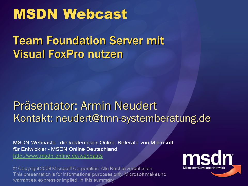 MSDN Webcast Team Foundation Server mit Visual FoxPro nutzen