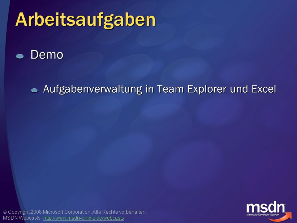 Arbeitsaufgaben Demo Aufgabenverwaltung in Team Explorer und Excel