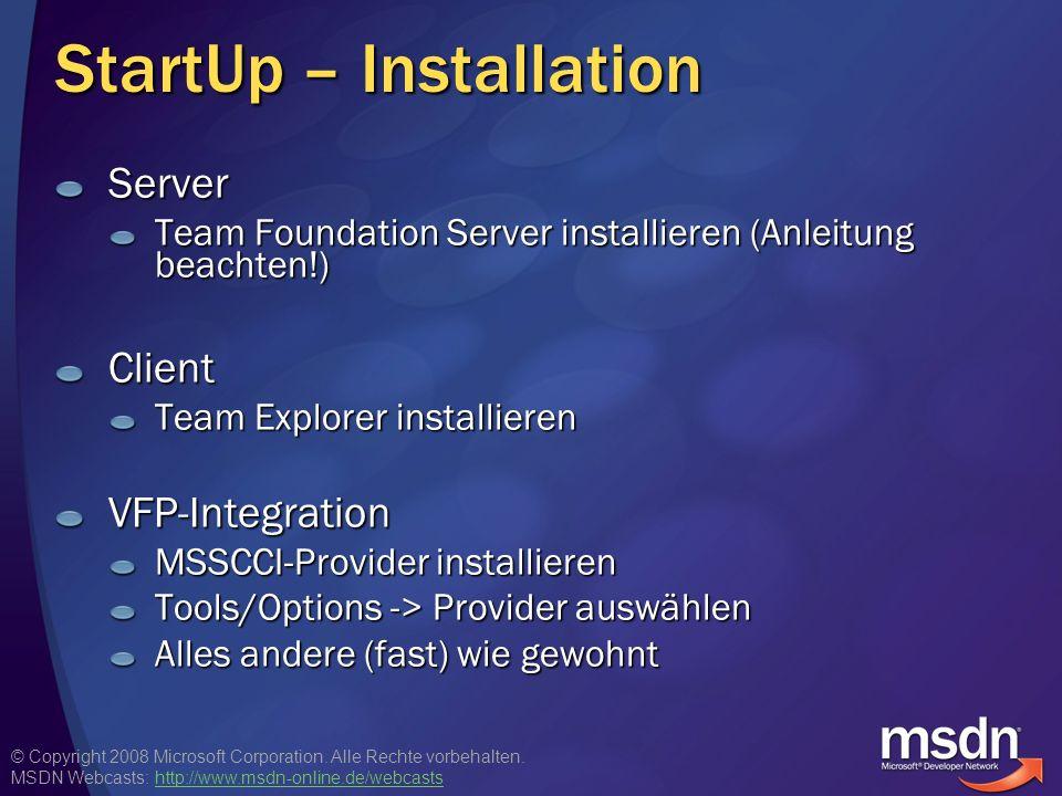 StartUp – Installation