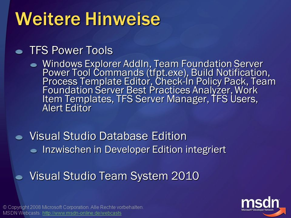 Weitere Hinweise TFS Power Tools Visual Studio Database Edition