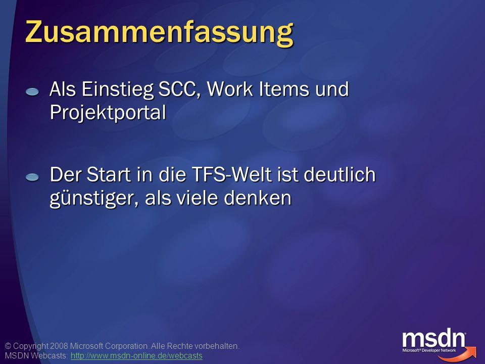 Zusammenfassung Als Einstieg SCC, Work Items und Projektportal