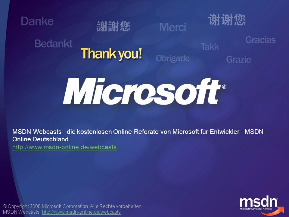 MSDN Webcasts - die kostenlosen Online-Referate von Microsoft für Entwickler - MSDN Online Deutschland http://www.msdn-online.de/webcasts