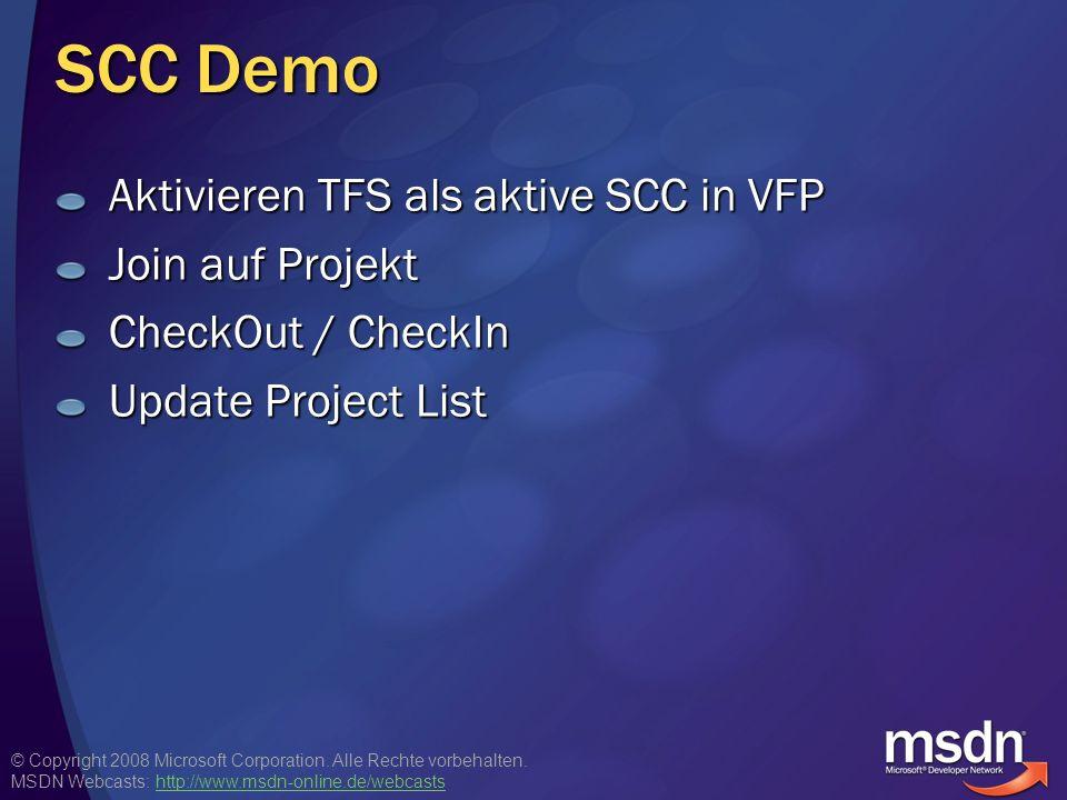 SCC Demo Aktivieren TFS als aktive SCC in VFP Join auf Projekt