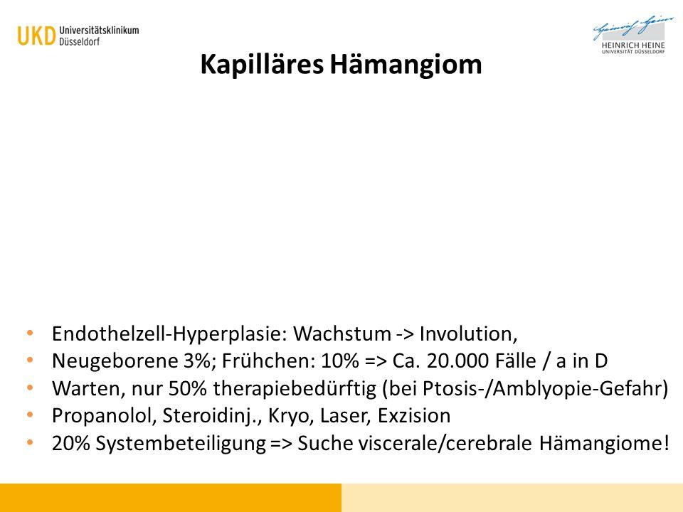 Kapilläres Hämangiom Endothelzell-Hyperplasie: Wachstum -> Involution, Neugeborene 3%; Frühchen: 10% => Ca. 20.000 Fälle / a in D.