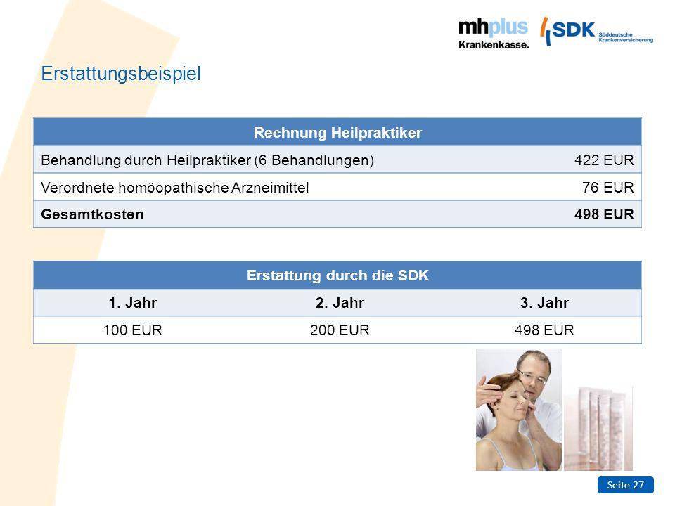 Rechnung Heilpraktiker Erstattung durch die SDK