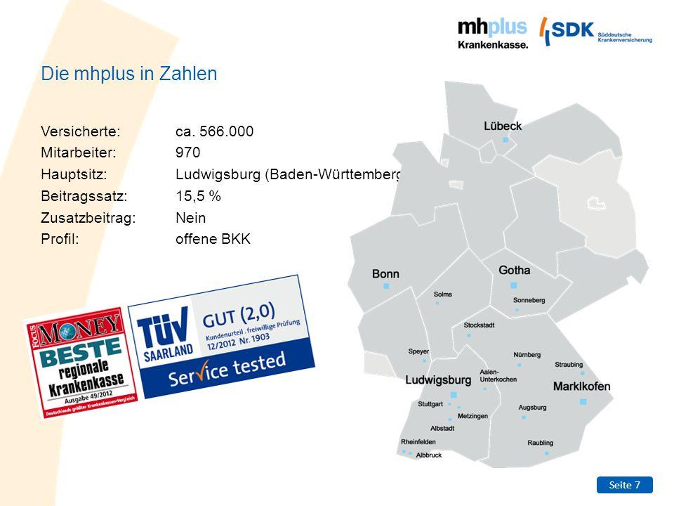 Die mhplus in Zahlen Versicherte: ca. 566.000 Mitarbeiter: 970