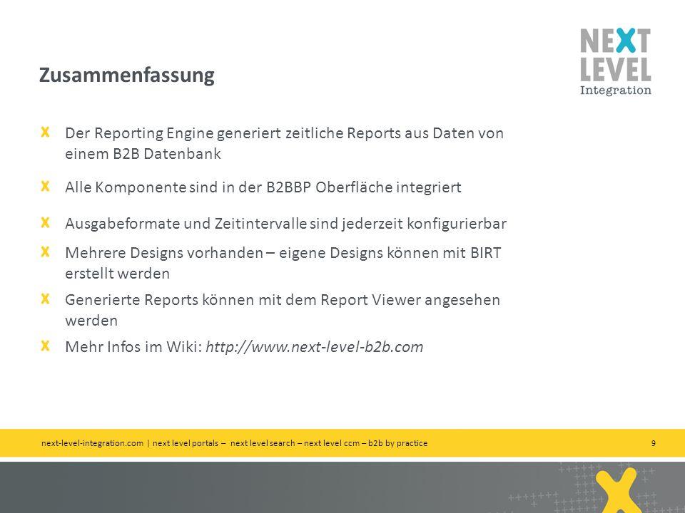Zusammenfassung Der Reporting Engine generiert zeitliche Reports aus Daten von einem B2B Datenbank.