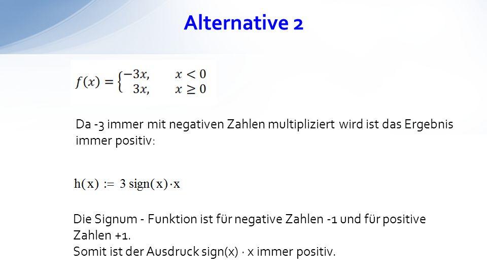 Alternative 2 Da -3 immer mit negativen Zahlen multipliziert wird ist das Ergebnis immer positiv: