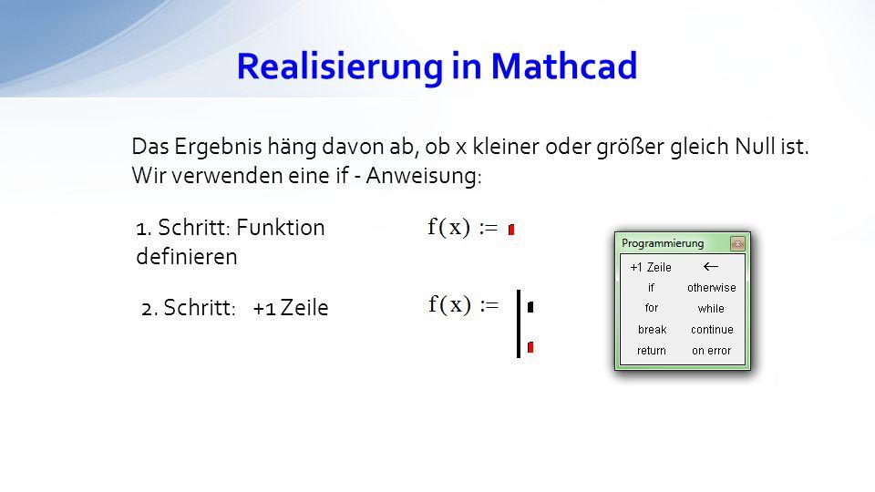 Realisierung in Mathcad