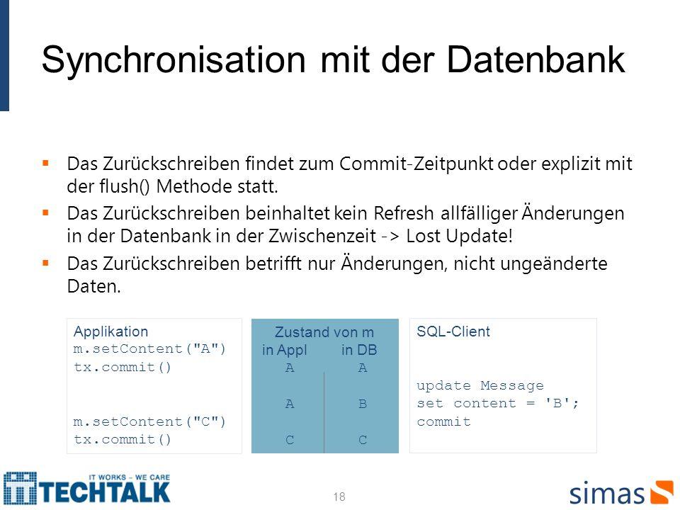 Synchronisation mit der Datenbank