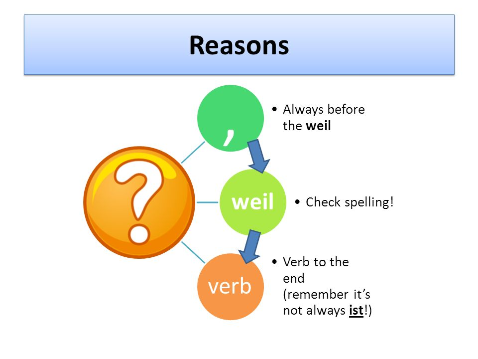 , Reasons weil verb Always before the weil Check spelling!