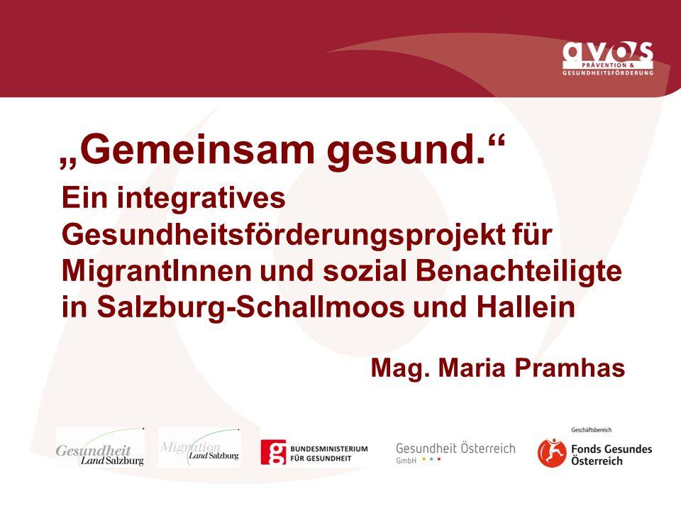 """""""Gemeinsam gesund. Ein integratives Gesundheitsförderungsprojekt für MigrantInnen und sozial Benachteiligte in Salzburg-Schallmoos und Hallein."""